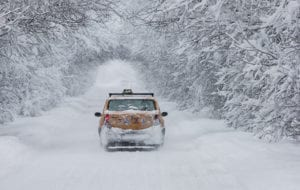 Taxi in de sneeuw