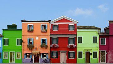 Kleurrijke huizen in Venetie