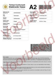 Voorbeeld visum Turkije