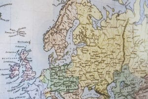 Detailfoto wereldkaart